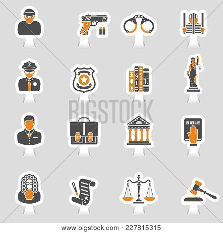 Set Crime And Punishment Icons Sticker Set For Flyer, Poster, Web Site  Like Thief, Policeman, Lawye