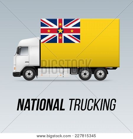 Symbol Of National Delivery Truck With Flag Of Niue. National Trucking Icon And Niuen Flag
