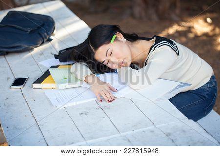 Beautiful Teenage Girl Sleeping On Notebooks In The Park