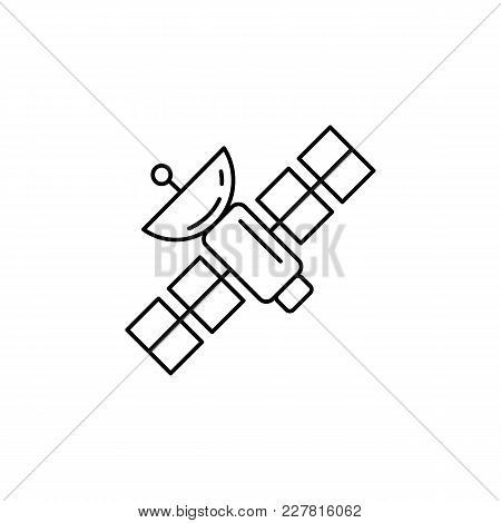 Science Satellite Icon In Line Style. Space Illustration With Science Satellite In White Background.