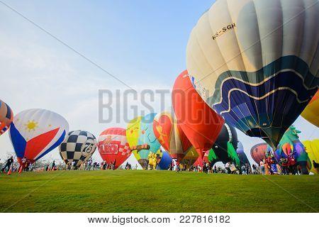 Chiangrai Thailand - Febuary 14 2018 : Singha Park International Balloon Fiesta 2018 In Singha Park,
