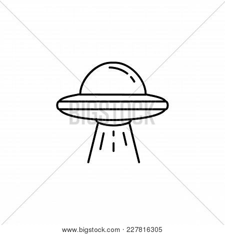 Ufo Spaceship Icon In Line Style. Space Illustration With Ufo In White Background. Element For Space