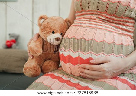 Close Up Cropped Portrait Pregnant Happy Woman In Striped Long Dress With Big Belly, Teddy Bear. Tum