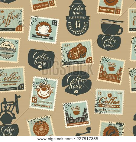 Vector Seamless Pattern With Postage Stamps And Other Coffee Symbols On Coffee And Coffeehouse Theme
