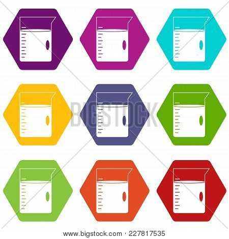 Measuring Cup Icon Set Many Color Hexahedron Isolated On White Vector Illustration
