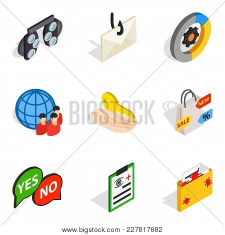 Business Solution Icons Set. Isometric Set Of 9 Business Solution Vector Icons For Web Isolated On W