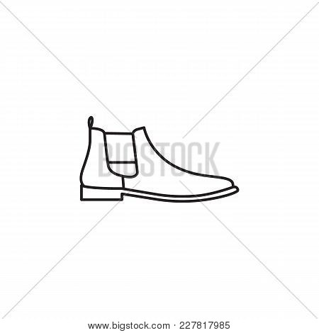 Hiking Boot Isolated On White Background, Combat American Military Boot. Shoe Object
