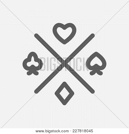 Gamble Chance Icon Line Symbol. Isolated Vector Illustration Of Poker Success Sign Concept For Your