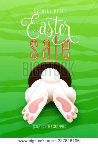 Easter Sale Poster With Easter Bunny Ass, Foot, Tail In The Hole On Bright Green Background. Discoun