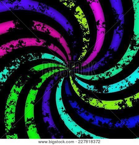 Dark Colorful Neon Bright Colors Radial Rotation Design Image