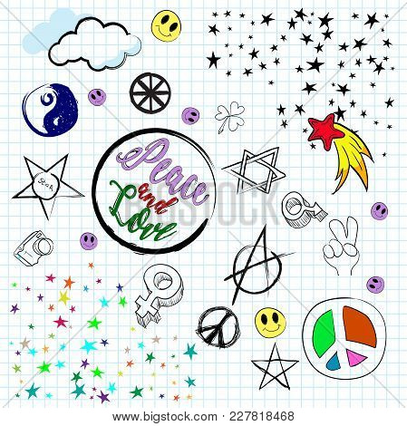 Signs Of Peace, And Love On A Piece Of Notebook. Design Elements Lined Background Of Paper. Vector I