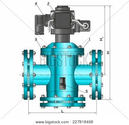 Sketch. Construction Drawings. Metal Construction. Pipes, Piping. Gas Shut-off Valve