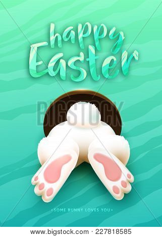 Happy Easter Greeting Card With Funny White Cartoon Easter Bunny Ass, Foot, Tail In The Hole On Brig