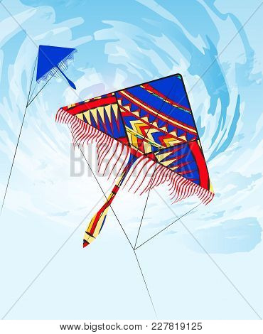 Flying Colorful Kite In The Clouds. Summer, Holiday, Vacation Time. Vector Illustration. Flat Cartoo