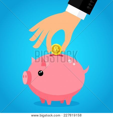 Concept Of Crypto-currency. Hand Putting Bitcoin Into Saving Piggy Bank. Currency Conversion. Flat D