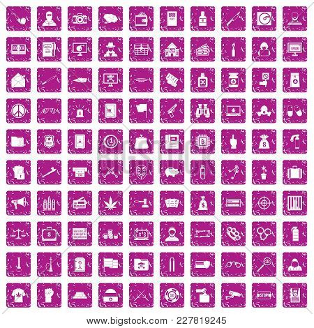 100 Criminal Offence Icons Set In Grunge Style Pink Color Isolated On White Background Vector Illust
