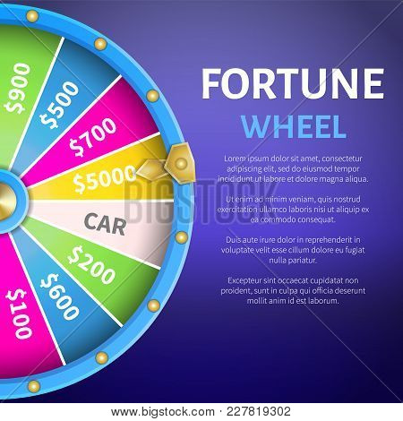 Fortune Wheel Poster With Place For Text And Full Length Of Entertainment Round Gambling Machine Wit