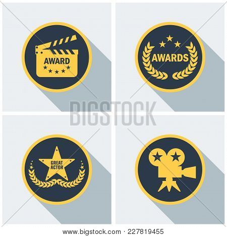 Set Film Award For Best Film. Movie Theater, Cinematic Award, Movie Premiere. Flat Vector Cartoon Il