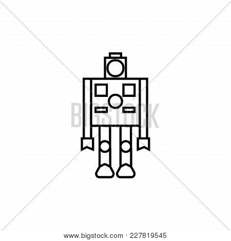 Robot Icon In Line Style. Vector Illustration With Artificial Intelligence Robot On White Background