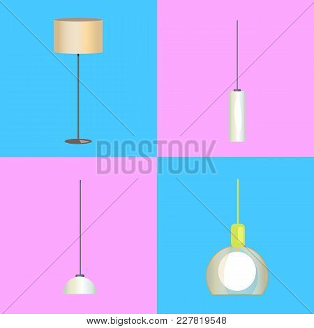 Modern Stylish Floor Lamp And Minimalistic Chandeliers In Beige And White Plafonds Isolated Cartoon