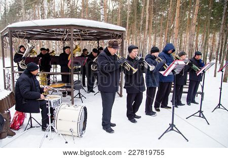 Lipetsk, Russia - February 18, 2018: Musicians At The Festival Maslenitsa , Russian Pagan Holiday