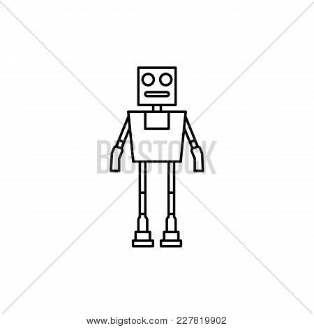 Robot Icon In Line Style. Vector Illustration With Robot On White Background. Robot Object For Web,