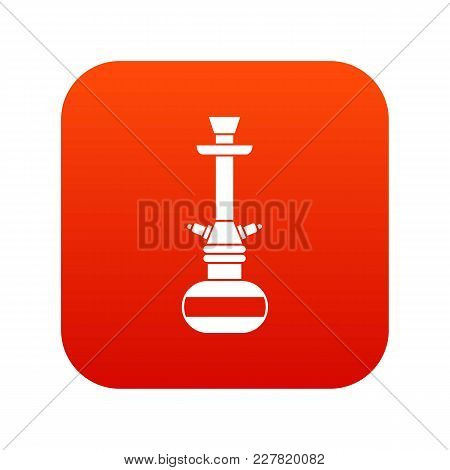 Arabic Hookah Icon Digital Red For Any Design Isolated On White Vector Illustration