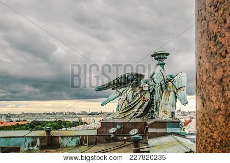 Panoramic View Of St. Petersburg From The Height Of St. Isaac's Cathedral With Angels On The Roof, S