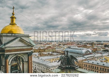 Panoramic View Of St. Petersburg From The Height Of St. Isaac's Cathedral With Angels And Bell Tower