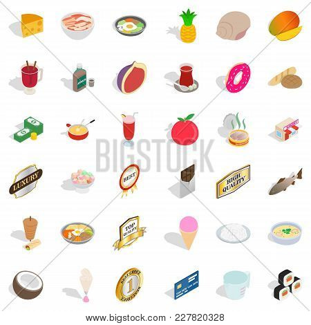 Diet Nourishment Icons Set. Isometric Set Of 36 Diet Nourishment Vector Icons For Web Isolated On Wh