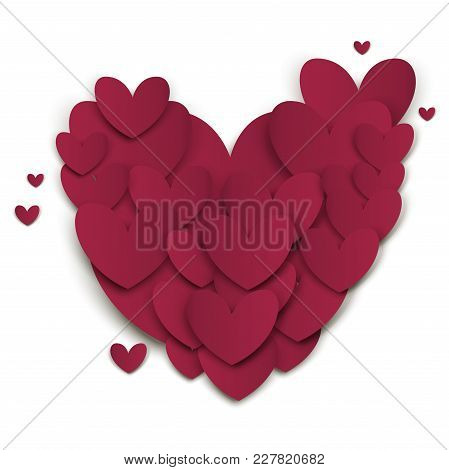 Heart Valentines Day Cut Out Paper Vector Love Art Card Origami Style Romantic Holiday Romance Creat