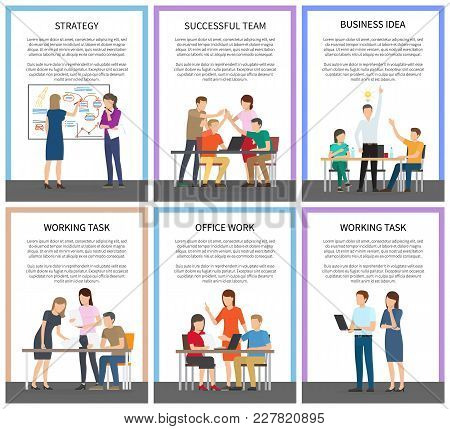 Office Teamwork And Working Tasks Promotional Posters With Executive Employees Involved In Work Proc