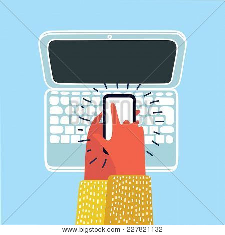 Vector Cartoon Illustration Of Human Hand Holding Phone And Laptop World News Site On The Screen In