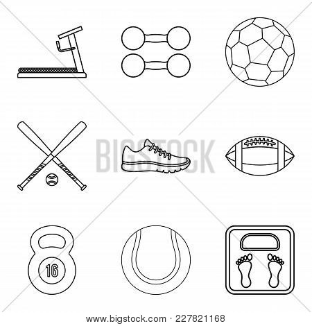 Sporting Icons Set. Outline Set Of 9 Sporting Vector Icons For Web Isolated On White Background