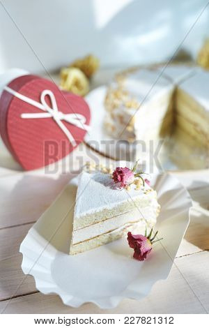 Light Diet Layered Biscuit With Curd Cream And Cherry. Cake Covered With Curd Cream And Garnished Wi
