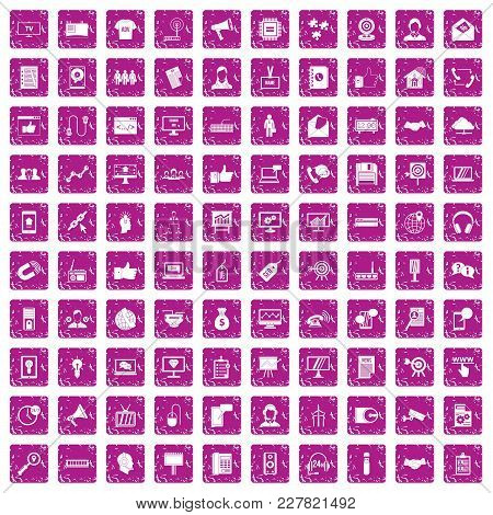 100 Data Exchange Icons Set In Grunge Style Pink Color Isolated On White Background Vector Illustrat