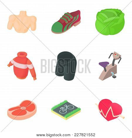Sportive Icons Set. Cartoon Set Of 9 Sportive Vector Icons For Web Isolated On White Background