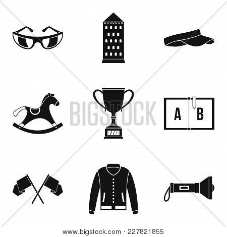 Equestrian Sport Icons Set. Simple Set Of 9 Equestrian Sport Vector Icons For Web Isolated On White