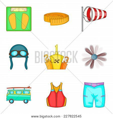 Physical Lifestyle Icons Set. Cartoon Set Of 9 Physical Lifestyle Vector Icons For Web Isolated On W