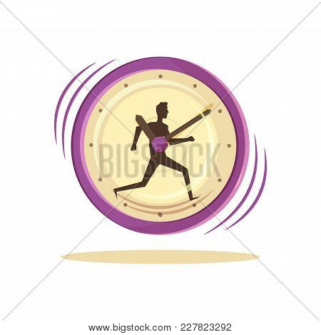 Time Management, Poster With Clock And Image Of Running Man Inside, Deadline And Organization, Vecto