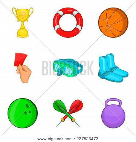 Sport Competitions Icons Set. Cartoon Set Of 9 Sport Competitions Vector Icons For Web Isolated On W