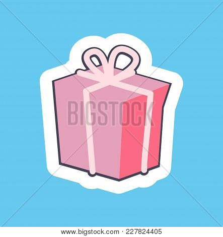 Nice Pink Gift Box Banner Vector Illustration Of Bright Present With Light Rosy Ribbon And Cute Bow