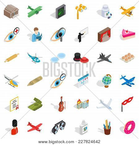Intervention Icons Set. Isometric Set Of 36 Intervention Vector Icons For Web Isolated On White Back