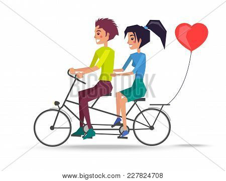 Couple In Love Riding On Two-seat Bicycle, Red Heart Shape Balloon Behind. Boy And Girl Vector Illus