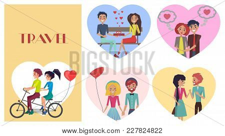 Beloved Female With Sweetheart Male Travel, Ride Bicycle Vector Illustration. Couples In Love With P