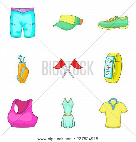 Physical Activity Icons Set. Cartoon Set Of 9 Physical Activity Vector Icons For Web Isolated On Whi
