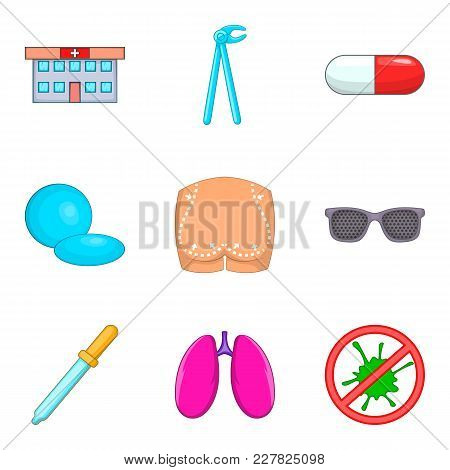 Medical Checkup Icons Set. Cartoon Set Of 9 Medical Checkup Vector Icons For Web Isolated On White B