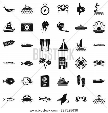 Ocean Floor Icons Set. Simple Set Of 36 Ocean Floor Vector Icons For Web Isolated On White Backgroun