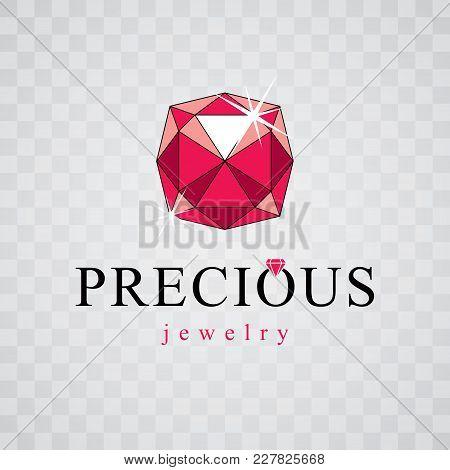 Vector Precious Decorative Element, Polygonal. Luxury Diamond Sign Emblem, Logotype. Brilliant Jewel