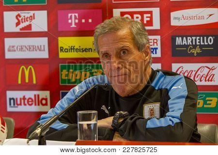 Vienna, Austria, 2017/11/14:  Oscar Tabarez Skeptical At Press Conference At Friendly International